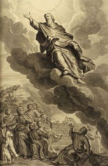 God took Enoch, as in Genesis 5:24: illustration from the 1728 Figures de la Bible; illustrated by Gerard Hoet. Iamge courtesy of wikipedia.org