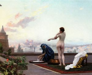 Jean Leon Gerome's depiction of Bathsheba bathing as viewed from David perspective.