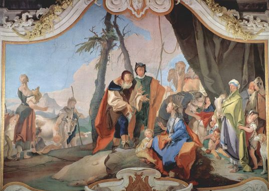 Rachael sitting on the idols by Giovanni Battista Tiepolo