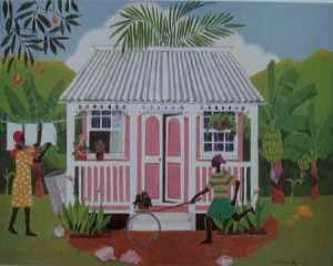 Pink Country House/Trica Evelyn Art by jamaicaart.com