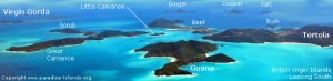 Aerial view of the BVI - paradise islands.org