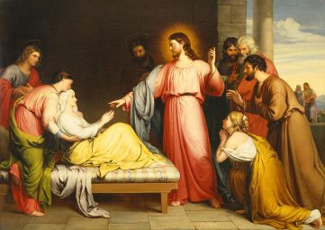 Christ healing the mother of Simon Peter's wife by John Bridges. Image courtesy of Wikipedia