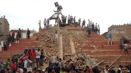 Earthquake in Nepal. Image courtesy of BBC news