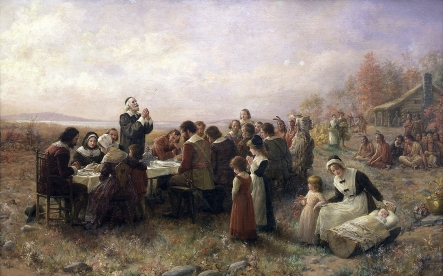 Jennie Augusta Brownscombe, The First Thanksgiving at Plymouth, 1914, Pilgrim Hall Museum, Plymouth Massachuseetts. Image courtesy of Wikipedia.org