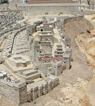 Digital reconstruction of the Biblical City of David in the period of Herod's Temple, Holyland Model of Jerusalem. The southern wall of the Temple Mount appears at top. Image courtesy of wikipedia.org
