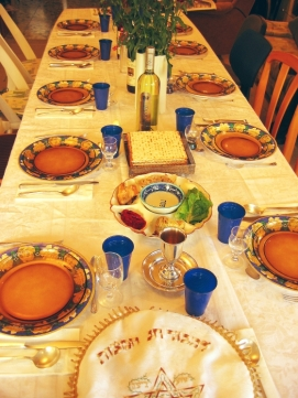 Table set for the Passover Seder. Image courtesy of wikipedia.org