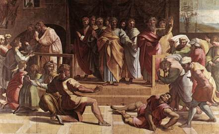 The Death of Ananias, by Raphael. Image courtesy of wikipedia.org