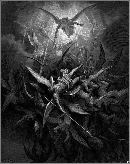 Michael casts out rebel angels. Illustration by Gustave Doré for John Milton's Paradise Lost. Image courtesy of wikipedia.org