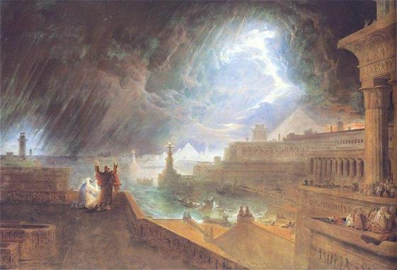 The Seventh Plague: John Martin's painting of the plague of hail and fire (1823). Image courtesy of wikipedia.org