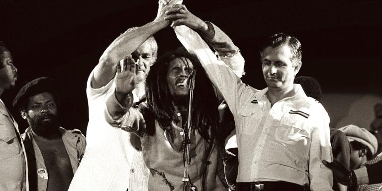 Bob Marley song for peace during a politically turmoil Jamaica. Image source: BobMarley.com