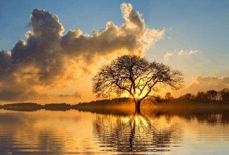 clouds dawn lake landscape